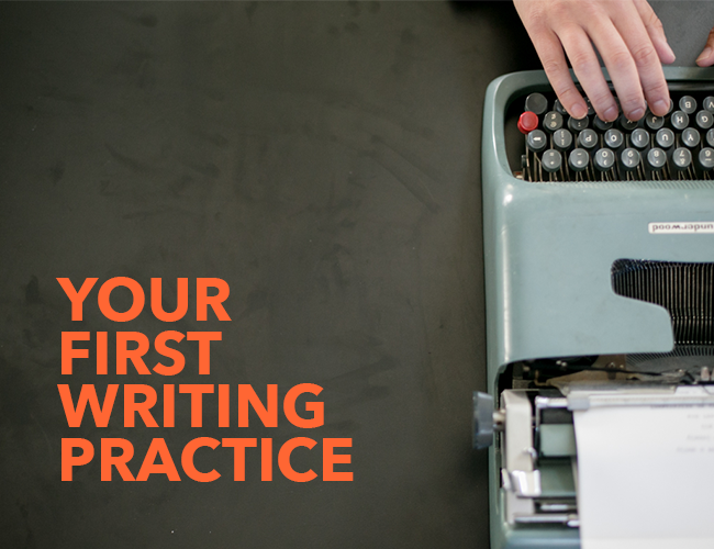 Olivetti Lettera typewriter with the words, 'Your First Writing Practice' in orange. Click on image to be taken to your first writing practice.