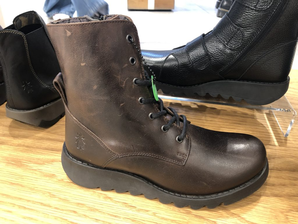 Dark brown, lace-up, leather boots by Fly